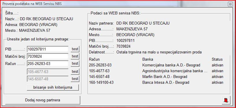 Dodavanje poslovnog partnera NBS