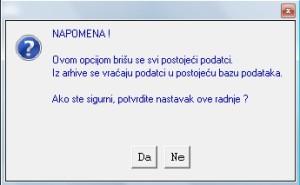 Upozorenje kod vraćanja podataka KIP