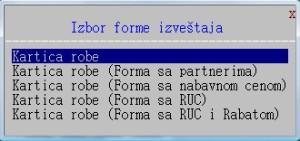 Kartica robe - Forma izveštaja